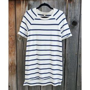 Burberry White Blue Striped Soft Shirt Dress